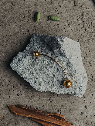 Gold Plated Handcrafted Single Brass Earring