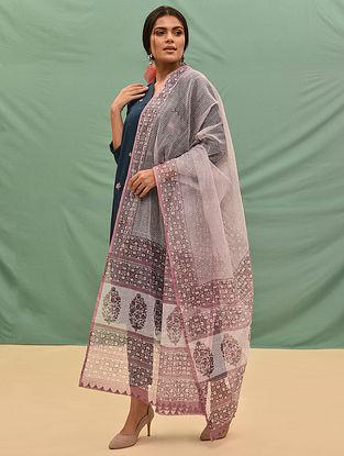 Pink-Grey Block Printed Kota Cotton Dupatta