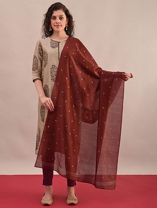 Rust Silk Cotton Dupatta with Khari