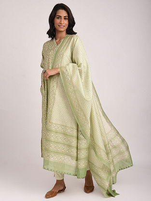 Green Block Printed Silk Cotton Dupatta with Khari