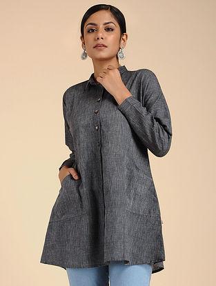 Grey Mangalgiri Cotton Shirt with Pockets