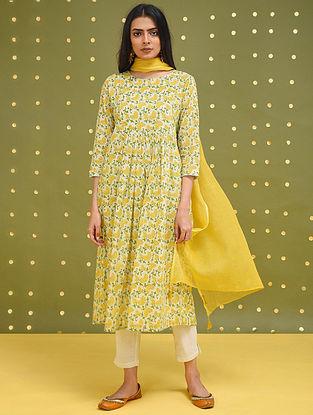 SOSAN - Yellow-Green Block Printed Cotton Kurta with Gathers