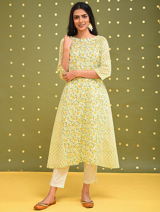 GENDA - Yellow-Green Block Printed Cotton Kurta