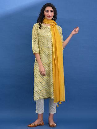 KUSUM - Yellow-Green Block Printed Cotton Kurta