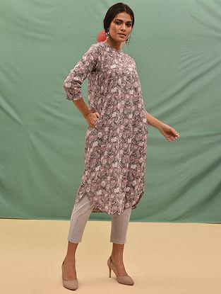 PARJANYA - Pink-Grey Block Printed Cotton Kurta