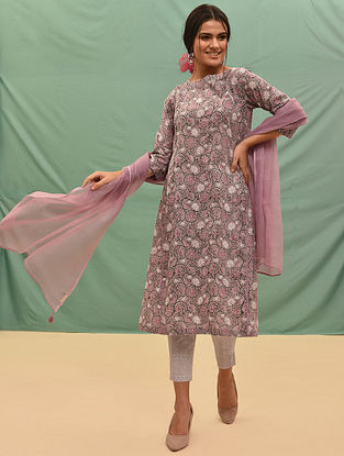 VIDYUT - Pink-Grey Block Printed Cotton Kurta