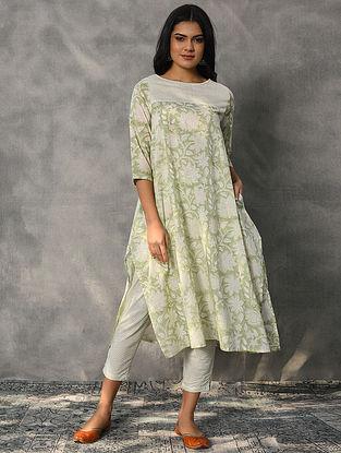 NALINI - Green Block Printed Cotton Kurta
