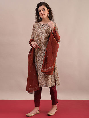 ANIKA - Rust Beige Bagru Printed Silk Cotton Kurta with Khari