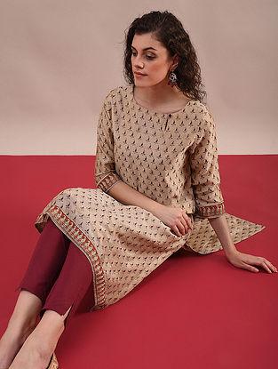 BHAMA - Rust Beige Bagru Printed Silk Cotton Kurta with Khari