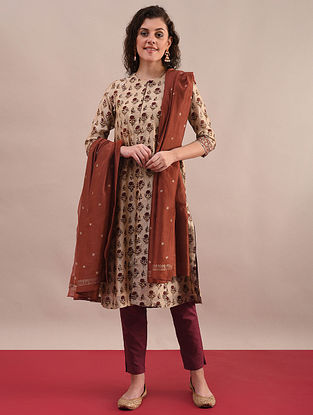 AASHI - Rust Beige Bagru Printed Silk Cotton Kurta with Khari