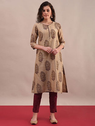 PIYA - Rust Beige Bagru Printed Silk Cotton Kurta with Khari