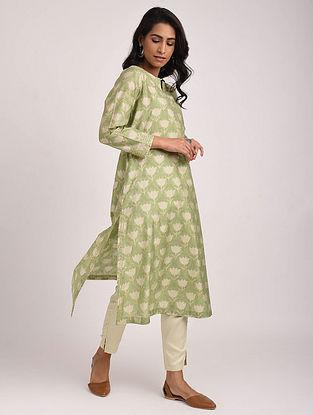 JOVITA - Green Block Printed Silk Cotton Kurta with Khari