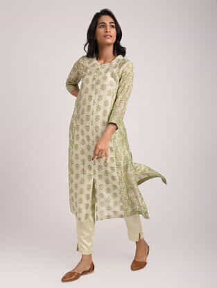 RIYANSHI - Green Block Printed Silk Cotton Kurta with Khari