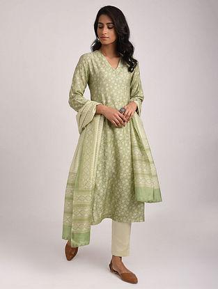 PRAHASINI - Green Block Printed Silk Cotton Kurta with Khari
