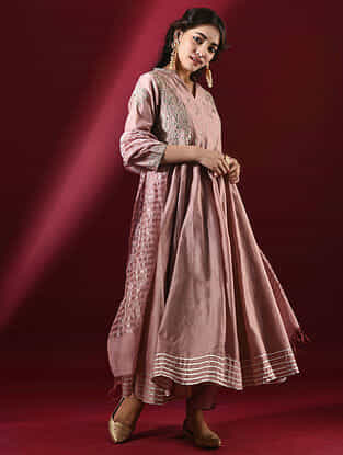 TOSHANI - Pink Silk Cotton Kalidar Kurta with Hand Embroidered Gota Patti