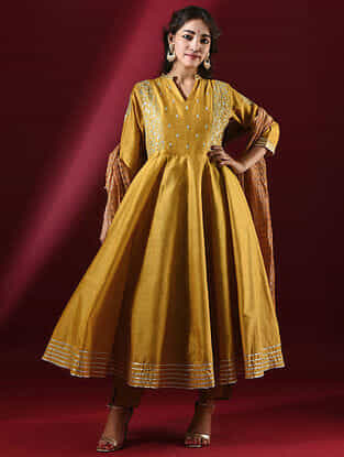 SHULINI - Mustard Silk Cotton Kalidar Kurta with Hand Embroidered Gota Patti