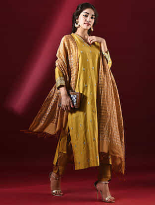 SHYLA - Mustard Silk Cotton Kurta with Hand Embroidered Gota Patti (Set of 2)