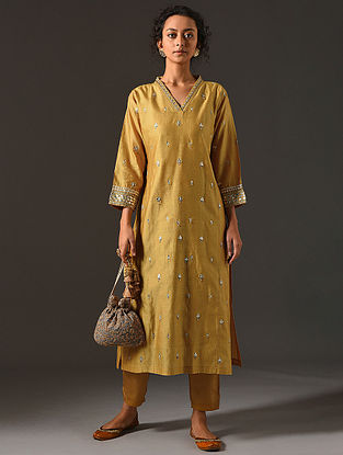SHYLA - Mustard Silk Cotton Kurta with Hand Embroidered Gota Patti (Set of 2)
