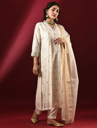 SARIKA - Ivory Silk Cotton Kurta with Hand Embroidered Gota Patti (Set of 2)