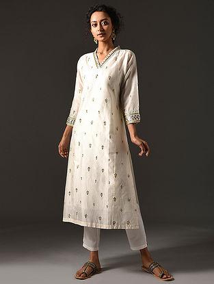 SARIKA - Ivory Silk Cotton Kurta with Hand Embroidered Gota Patti (Set of 2)