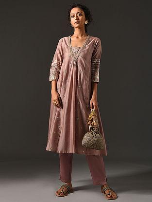 ANWITA - Pink Silk Cotton Kurta with Hand Embroidered Gota Patti (Set of 2)