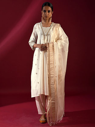 ILA - Ivory Silk Cotton Kurta with Hand Embroidered Gota Patti (Set of 2)