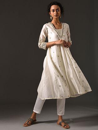 ILA - Ivory Silk Cotton Kurta with Hand Embroidered Gota Patti (Set of 2)