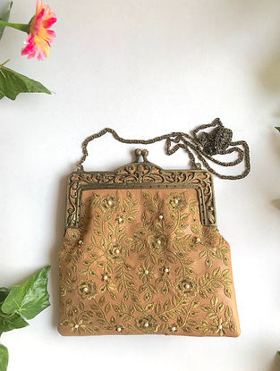 Nude-Gold Handcrafted Embroidered Sling with Pearl Beads