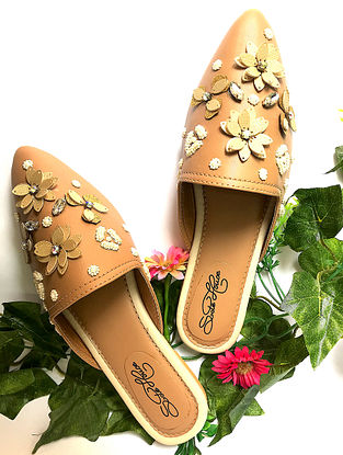 Tan Hand-Embroidered Vegan Leather Slip-Ons with Floral Embellishments
