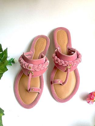 Pink Handcrafted Velvet Kohlapuris