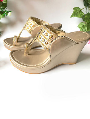 Gold Vegan Leather Kolhapuri Wedges