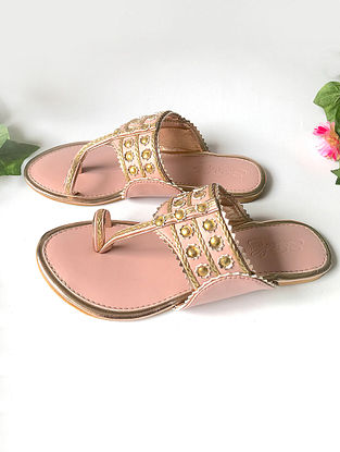 Pink-Gold Vegan Leather Kolhapuri Flats