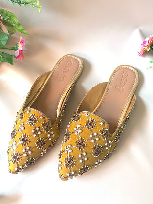Yellow-White Silk and Leather Mules with Cut Dana Work