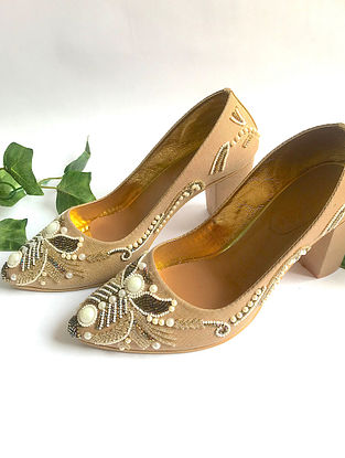 Dull Gold-White Silk and Leather Block Heels with Cut Dana Work