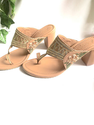 Nude-Gold Zari Embroidered Kolhapuri Heels