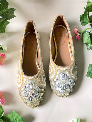Beige-Silver Handcrafted Embroidered Ballerinas with Sequins