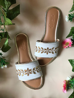 White-Gold Handcrafted Embroidered Flats with Gota Patti