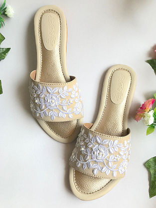 Cream-White Handcrafted Embroidered Flats with Pearl Beads