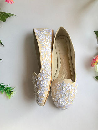 Cream-White Handcrafted Embroidered Ballerinas with Pearl Beads