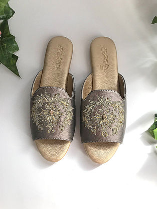 Gun Metal Zari Embroidered Flats with Embellishments