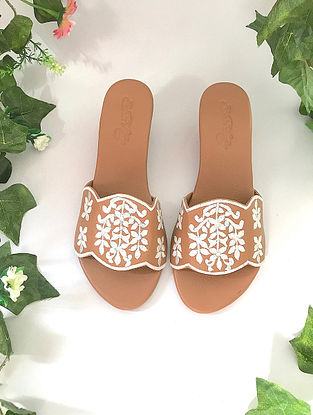 Tan-White Embroidered Box Heels