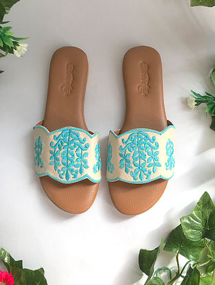Cream-Turquoise Embroidered Flats