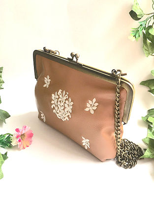Tan-White Embroidered Clutch