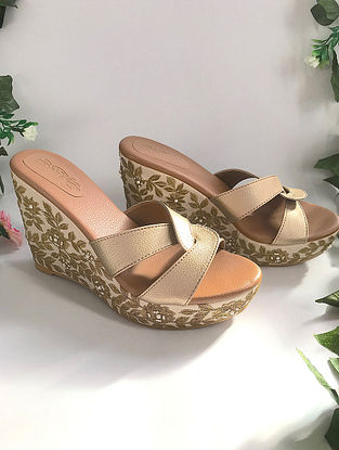 Dull Gold Zari Embroidered Wedges