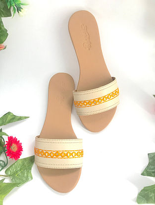Cream-Orange Embroidered Leather Flats with Mirror Work