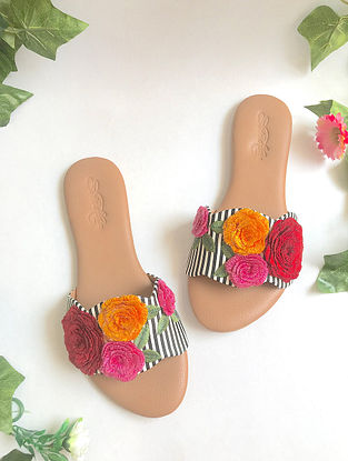 Multicolored Embroidered Leather Flats