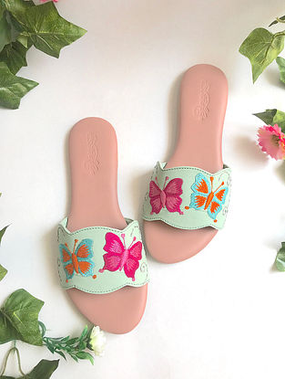 Sea Green-Pink Embroidered Leather Flats