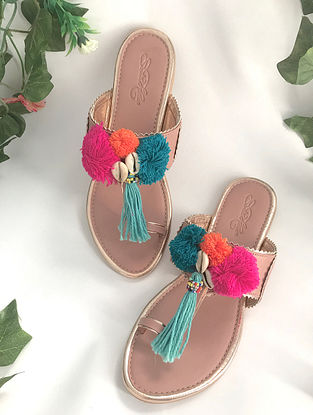 Tan-Multicolored Leather Kolhapuris with Pom Poms