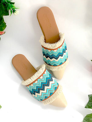 Cream-Blue Embroidered Leather Mules