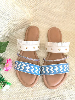 White Blue Embroidered Leather Flats with Fringes